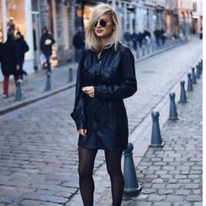 Zara faux leather belted blazer jacket dress